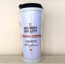 design plastic mug new design stocked 350ml double wall paper insert advertising cup