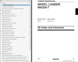 komatsu wheel loader wa200 7 shop manual pdf repair manual