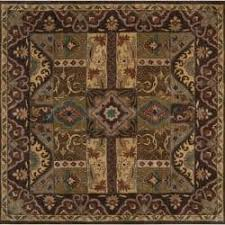 Square Wool Rug Hand Tufted Coliseum Brown Floral Border Wool Rug 6 U0027 Square