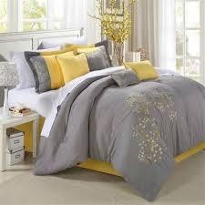 Yellow King Size Comforter Buy King 8 Piece Modern Yellow Grey Floral Comforter Set Free
