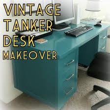 Home Office Equipment by Vintage Mcm Wood Tanker Desk Paint Furniture Makeover Teal