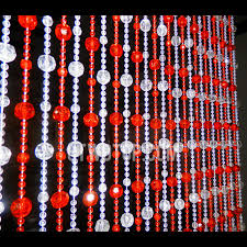 Beaded Doorway Curtains Forty Five Strings Of Beads 2cm Interval Red And White Beaded Door