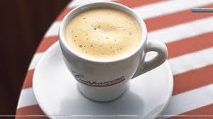 cappuccino coffee cup in cafe wallpaper