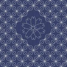 traditional japanese embroidery ornament with rhombs and sakura