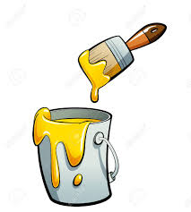 cartoon yellow color paint in a grey paint bucket painting