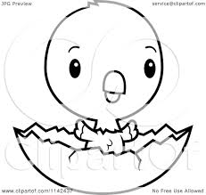 cartoon clipart of a black and white cute baby parrot in an egg