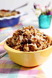 rice salad with dried fruit and almonds the speckled palate