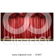 Stage With Curtains Red Stage Or Window Curtains Pulled And Tied To The Side Clipart