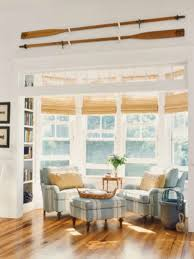 Bamboo Window Blinds Bay Window Decorated With Stripes Upholstered Chairs And Bamboo