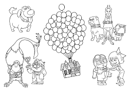 up coloring pages russell and the dog coloring page up house