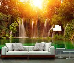 wallpaper home interior 3d realistic mural wallpaper waterfall tv sofa home interior photo
