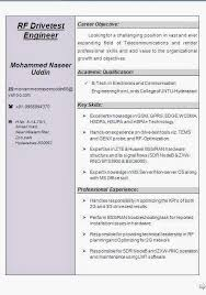 resume format for freshers electronics and communication engineers pdf free download rf drive test engineer resume
