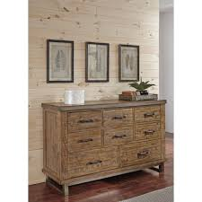 Solid Wood Bedroom Dressers Modern Rustic Solid Wood Dresser With Metal Legs And Metal Banding