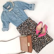 chambray shirt leopard tie waist skirt pink pumps camel purse