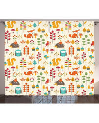 Owl Drapes Curtain Owl Fox Squirrel Birds Print 2 Panel Window Drapes