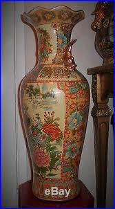 Large Brown Floor Vase Vintage Ornate Hand Crafted Chinese Porcelain Peacock Palace Floor