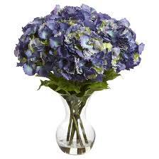 large hydrangea with vase silk flower arrangement blue target