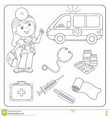 coloring page outline of doctor set medical instruments stock