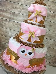 owl baby girl shower decorations owl cake in pink and gold owl baby shower centerpiece