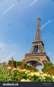 eiffel tower paris france beautiful summer stock photo 286644449