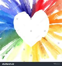watercolor color wheel heart frame greeting stock illustration