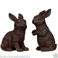 made from resin garden rabbit ornaments 2pk ebay
