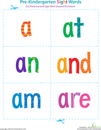 printable kindergarten sight words pre kindergarten sight words a to are worksheet education com