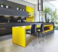 modern kitchen island table furniture minimalist black and yellow kitchen with yellow
