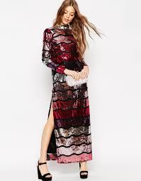 asos long sleeve sequin stripe maxi dress in black lyst