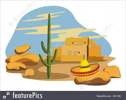 cartoon sombrero sombrero on cactus illustration