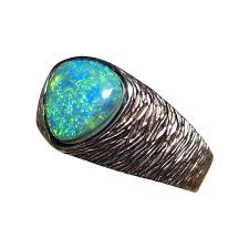 real blue opal mens opal ring ribbed 14k gold nugget design flashopal