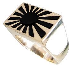 Japanese Flag Rising Sun Bronze Rising Sun Ring Far East Japanese Flag Symbol With Black