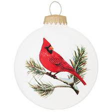 cardinal on branch with symbol glass ornament bird animal
