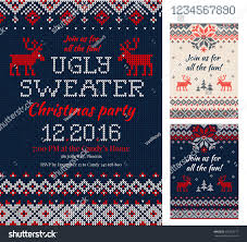 Flat Invitation Cards Merry Christmas Party Invitation Cards Knitted Stock Vector