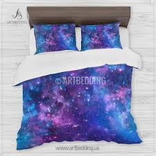 Space Bed Set Space Bedding Set Blue And Purple Nebula With Duvet