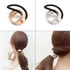 hair cuff women hair cuff wrap ponytail metal holder ring tie elastic hair