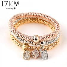 bracelet elastic heart images 17km 2017 hot 3 pcs set crystal butterful bracelet bangle jpeg