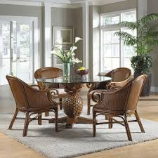 Round Glass Dining Table And Wicker Chairs Chocolate With Round - Round dining table with wicker chairs