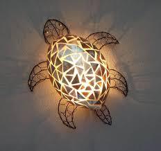 unusual gold shell turtle wall lamp shade hand made bali lamp