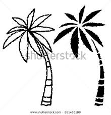 coconut palm trees line black silhouette stock vector 281465189