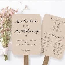 fan style wedding programs wedding program fan template printable rustic wedding fan
