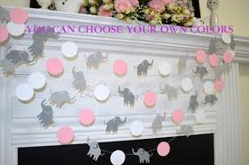 Pink And Brown Baby Shower Decorations Elephant Baby Shower Garland Pink Elephant Garland Grey