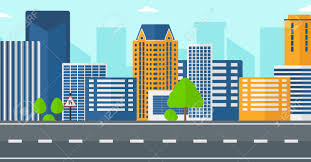background of modern city and a road vector flat design