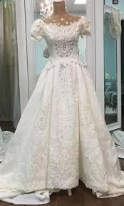 boston wedding dress priscilla of boston linen with battenberg lace 999 size 2