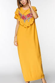 yellow scoop neckline short sleeve floral print ruffle trim side