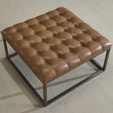 Leather Ottoman Tufted Carbon Loft Healy Saddle Brown Leather Tufted Ottoman Free