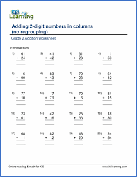 grade 2 math worksheet addition adding two 2 digit numbers in