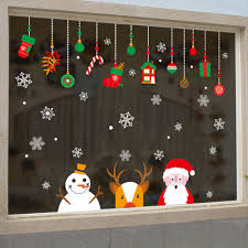 glass decorations for home xmas claus snowman christmas wall sticker diy window glass