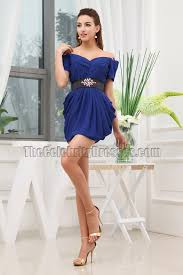 royal blue mini off the shoulder party homecoming dresses