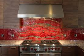 creative red kitchen backsplash with granite countertop 8494
